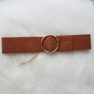 Jewelry - Retro Brown Circle Belt Buckle Choker Necklace